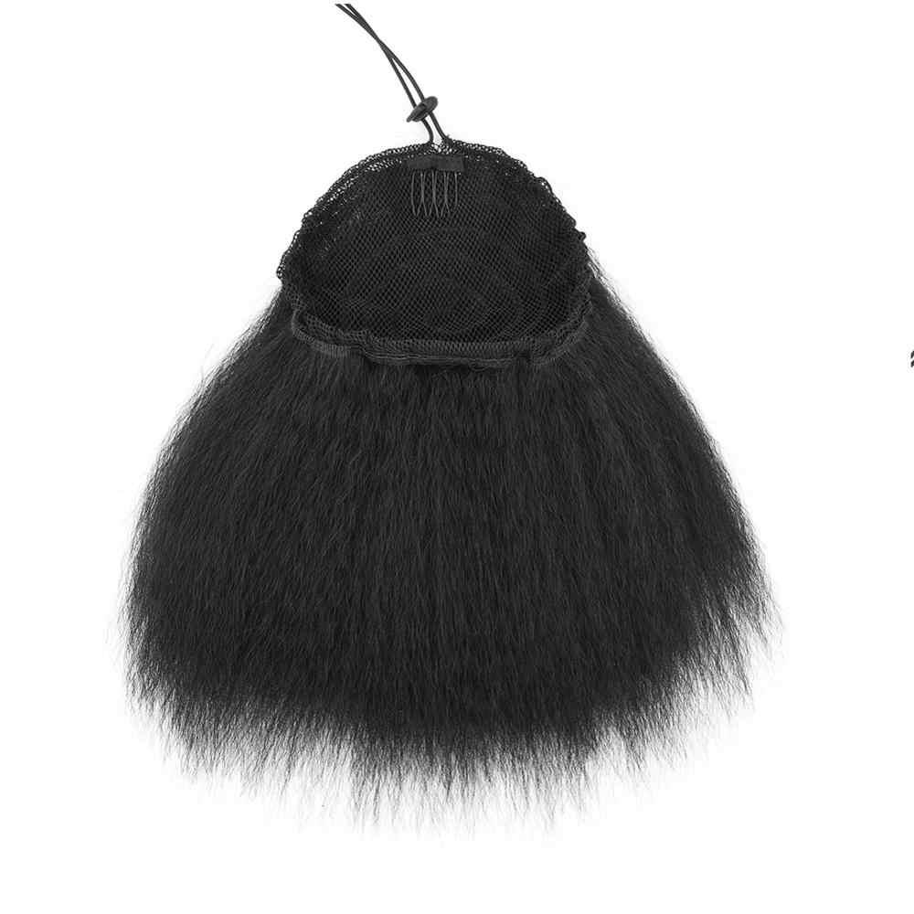 Trekkoord Paardenstaart Haarverlenging Clip Synthetische Afro Kinky Rechte Paardenstaart Haarstukjes Faux Kinky Blow Out Paardenstaart