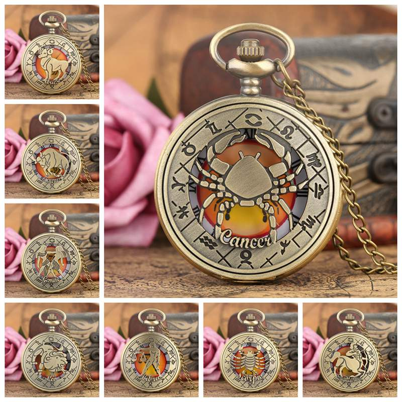 Twelve Constellation Pendant Retro Zodiac Pattern Quartz Pocket Watch Modern Necklace Chain Best  Birthday Clock Gift For Friend