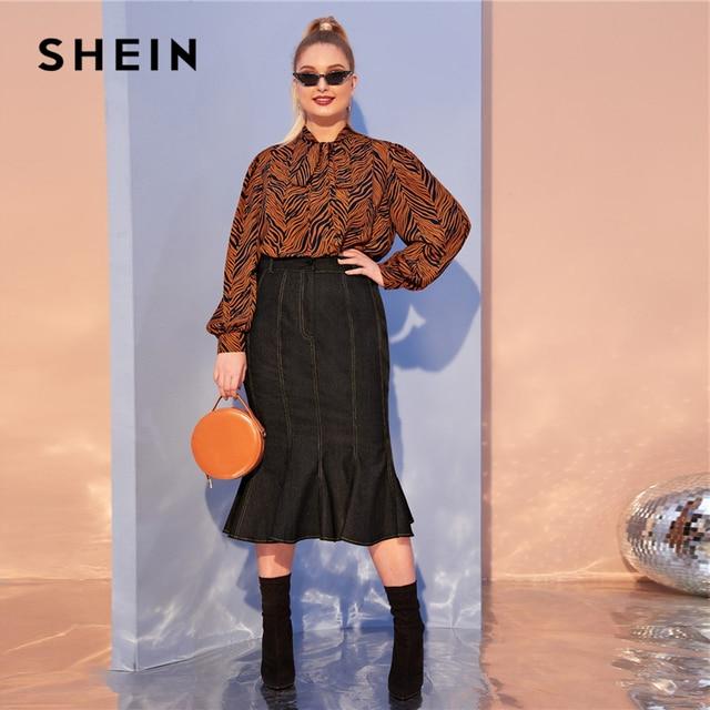 SHEIN Plus Size Multicolor Tiger Skin Print Tie Neck Blouse Top Women Autumn Bishop Sleeve Elegant Office Lady Plus Blouses 4