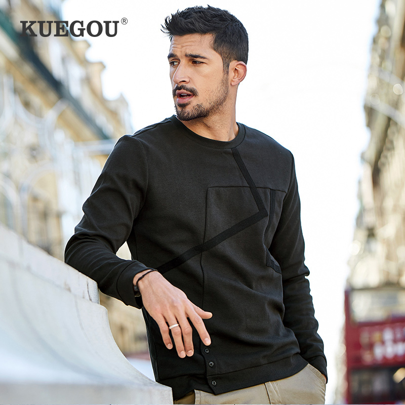 KUEGOU Cotton Autumn men's sweatshirts patchwork fashion hoodies sweatshirt men male tops plus size RW-3710