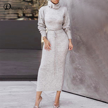 Dressmecb Sweater Bandage Autumn Dress Women Turtle Neck Knitted Casual Long Dress Female Autumn Winter Party Dress Vestidos