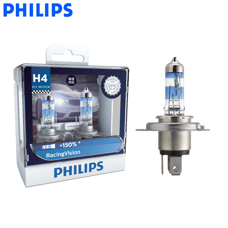 Philips H4 Racing Vision +150% 9003 12V More Bright Car Headlight Hi/lo Beam Halogen Lamp Rally Performance ECE 12342RV S2, Pair