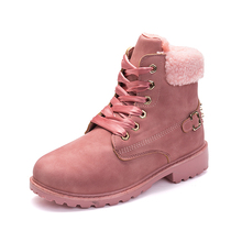 STS women winter boots Platform Pink Women Boots Lace up Casual Ankle Boots Booties Round Women Shoes winter snow boots Ankle autumn winter ankle boots women platform boots lace up black white leather rubber boots woman shoes comfortable women s boots
