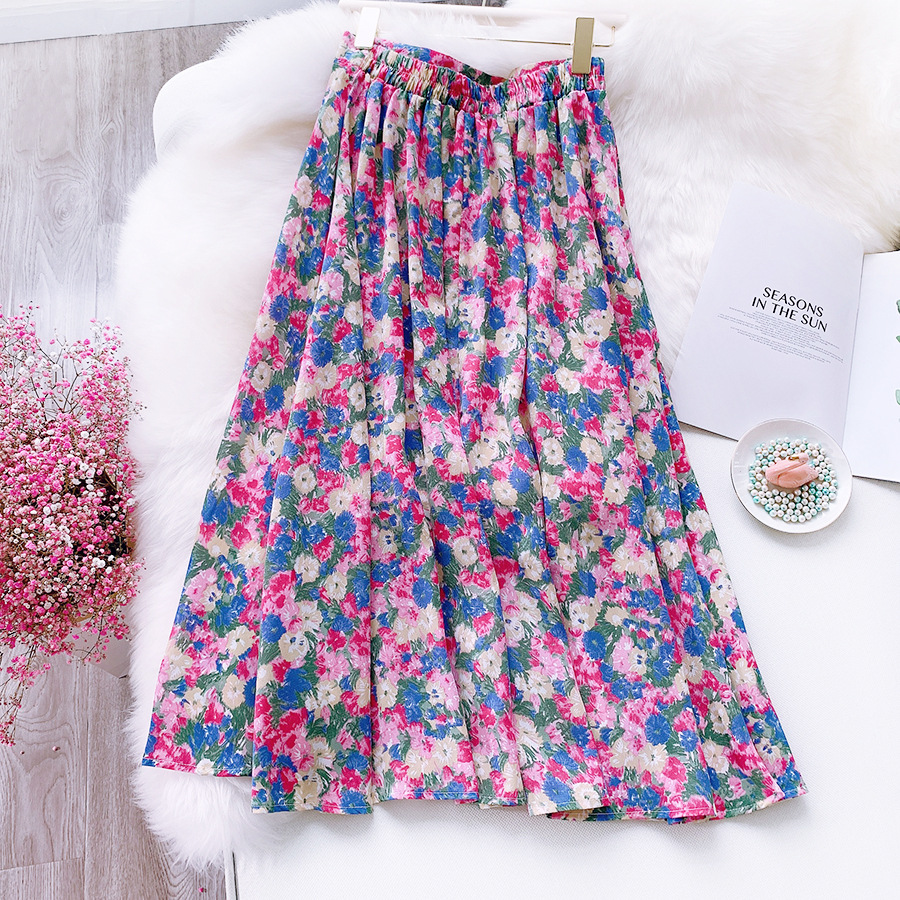 Floral Skirts Women 2020 New Summer Fresh Rural Flower Print Ladies Skirts High Waist A-Line Jupe Femme Female Skirts