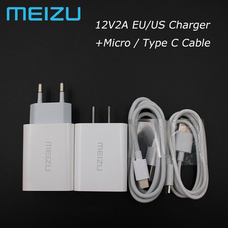 Cargador rápido Original Meizu M6S M5S M3S 12V 2A QC3.0, adaptador de carga de 1M, cable para Mei zu 15 Pro 7 6 5 MX7 MX6 MX5 MX3 U10 U20 E2