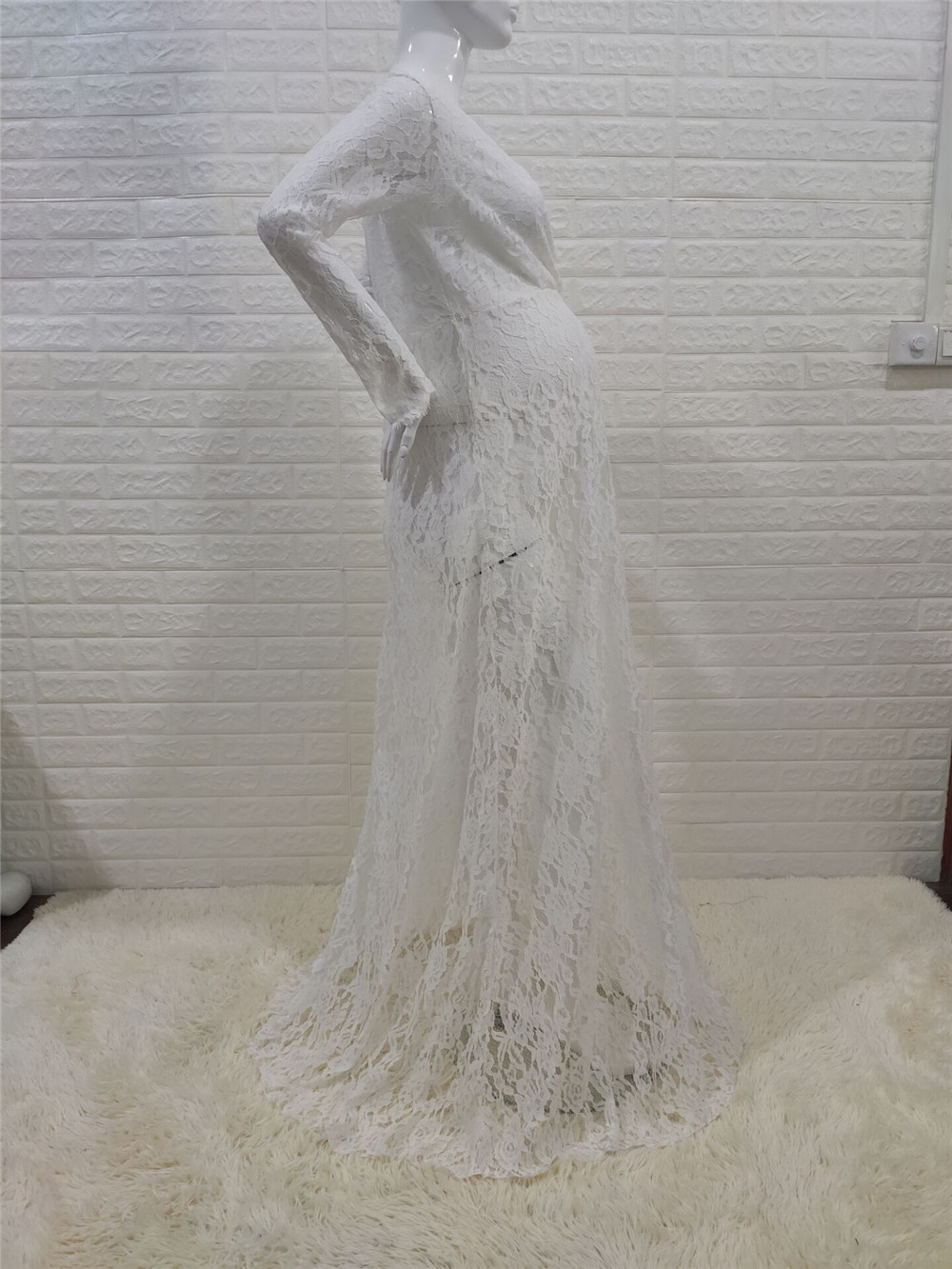 White Lace Maternity Photography Props Dresses Sexy Fancy Pregnancy Dress For Photo Shooting Long Pregnant Women Maxi Gown 2020 (10)