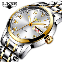 2020 LIGE Women Watches Stainless Steel Lady Wristwatch Fashion Waterproof Ladies Watch Simple Gold Girl Clock Relogio Feminino