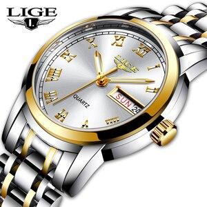 Image 1 - 2020 LIGE Women Watches Stainless Steel Lady Wristwatch Fashion Waterproof Ladies Watch Simple Gold Girl Clock Relogio Feminino