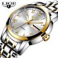 LIGE роскошные женские часы, женские водонепроницаемые часы из розового золота со стальным ремешком, женские наручные часы, часы с браслетом ...