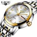 Reloj de lujo LIGE para mujer, reloj de pulsera resistente al agua de oro rosa con correa de acero para mujer, reloj de pulsera de marca superior, reloj femenino