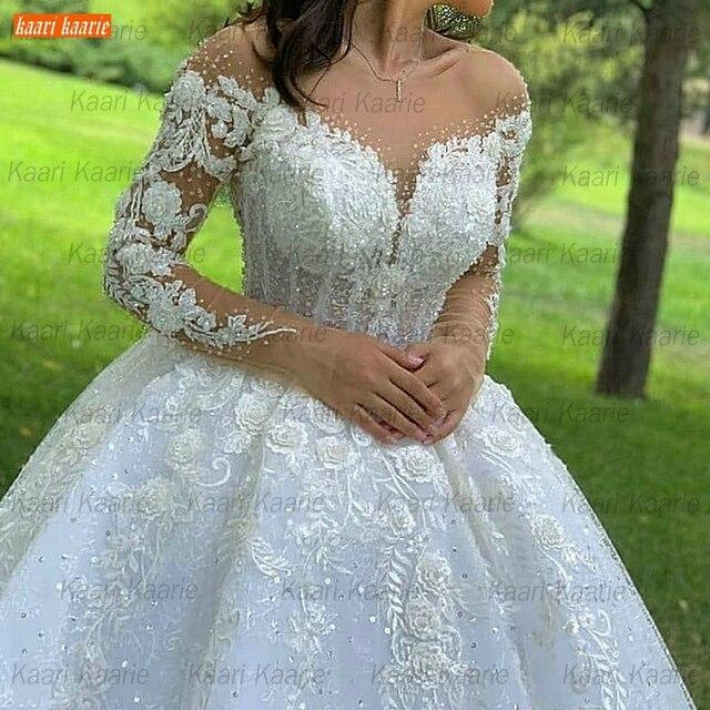 Ball Gown Wedding Dresses O Neck Long Sleeves Vestido Casamento Lace Up Appliqus Beaded Bride Gowns 2021 Suknie Slubne Princess 6