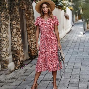 Kobiety lato długa sukienka kwiatowy wzburzyć rękaw Sundress przycisk Casual Ladies Red Midi stroje 2020 moda żółta odzież damska