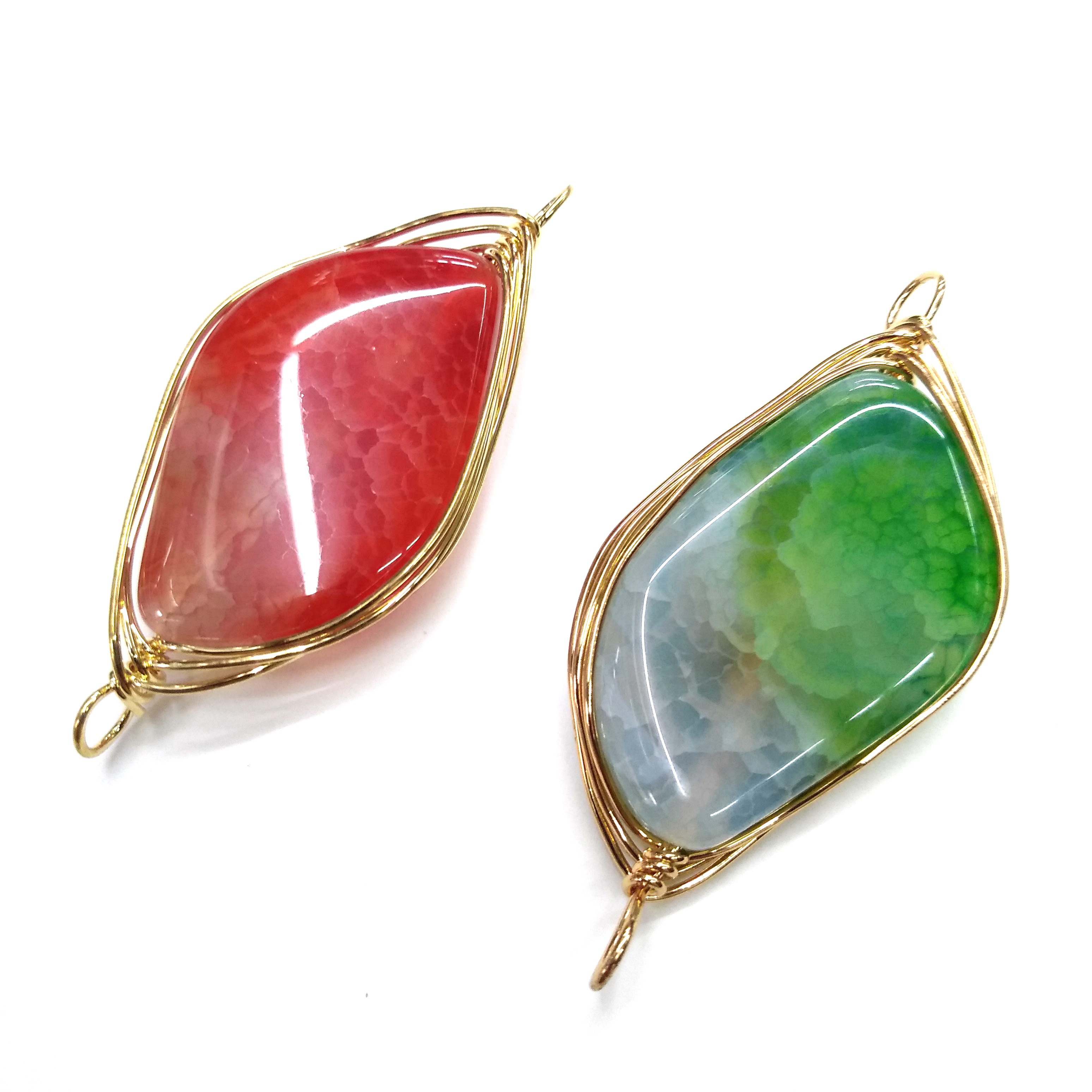 random color Natural Stone Agates Pendant Double hole connector Pendants for Jewelry Making DIY Necklace Accessories Size52x55mm in Pendants from Jewelry Accessories