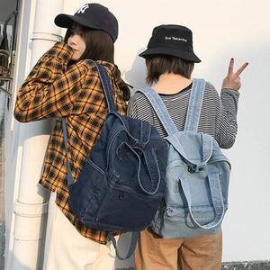 Image 4 - Casual Female Backpack Denim School Backpack High Quality College Teen Girl School bags Women Student Backpack