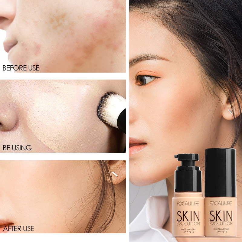 FOCALLURE Base Face Liquid Foundation Cream Full Coverage Concealer Oil control Easy to Wear Soft Face