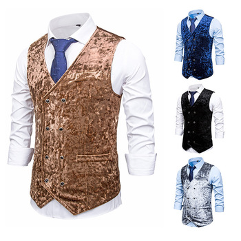 Men's Double Breasted Velvet Suit Vest Formal Dress Vest Colete Masculino V-neck Collar Casual Style Wedding Party Waistcoat