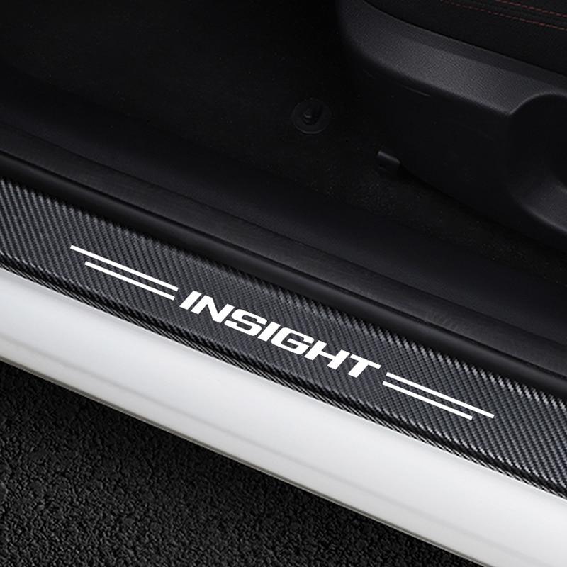 4PCS Car Door Threshold Guard Carbon Fiber Sticker For Honda Insight Auto Cover Anti Scratch Door Sill Protector Car Accessories
