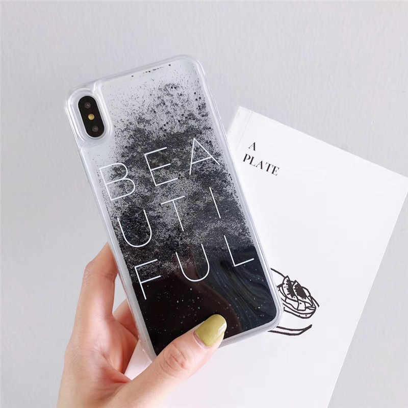 リキッドグリッター砂流砂ビーズ IMD ブラッククリア電話カバー iphone 6 6S 7 8 プラス X XS 最大 XR ケースカバーレターケース Capa