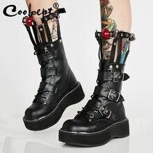 Coolcept Plus Size 35 45 Da Thật Giữa Bắp Chân Giày Boot Nữ Khóa Kéo Khóa Dây Đinh Tán Giày Punk Đáy Dày gothic Giày Thiết Kế