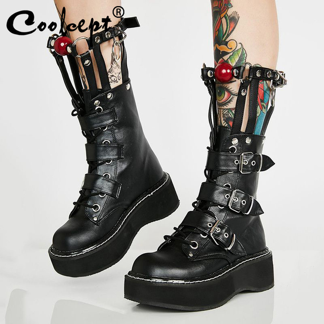 Coolcept Plus Size 35 45 Real Leather Mid Calf Boots Women Zip Buckle Strap Rivets Shoes Punk Thick Bottom Gothic Designer Shoes