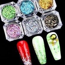 Polish-Powder-Set Flakies Iridescent Holographic Nail-Glitter Sequins Broken 3D Mix Laser
