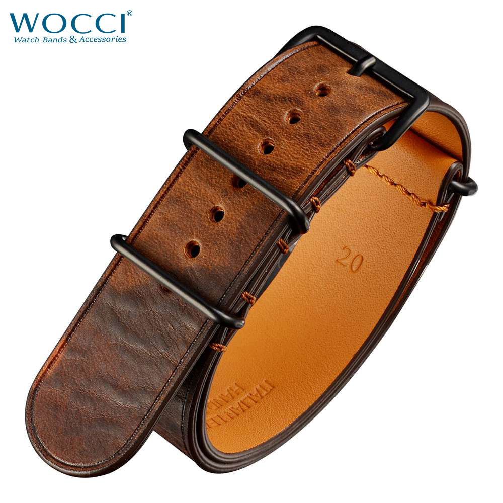 WOCCI <font><b>20mm</b></font> 22mm Nato Leather <font><b>Watch</b></font> <font><b>Band</b></font> Camo Bracelet Replacement Strap Stainless Steel Buckle for Man <font><b>Women</b></font> Wristwatch image