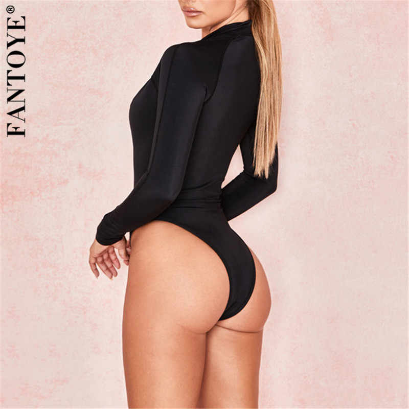 Fantoye 2019 Nuovo Patchwork Skinny Body Nero Delle Donne di Base Aderente Magliette e camicette Tuta Per Le Donne Casual Elastico Della Tuta Clubwear