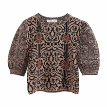 New 2020 women vintage puff sleeve flower pattern kimono blouse
