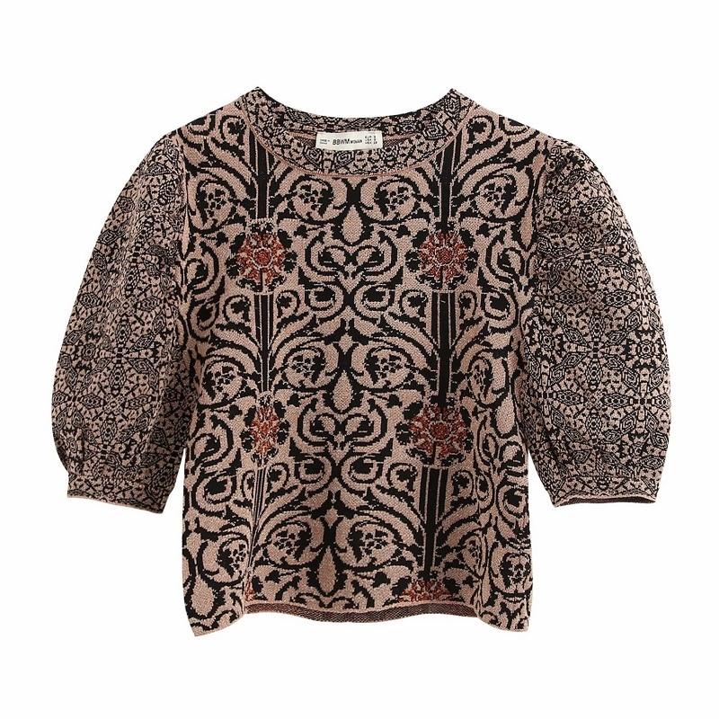 New 2020 Women Vintage Puff Sleeve Flower Pattern Kimono Blouse Shirt Women Wild Chic Knitted Blusas Brand Femininas Tops LS6389