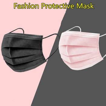 Black Face mask with Filter fabric Mouth Cover Fashion Anti Dust Earloops Face Mouth Masks Disposable PM25 Masks Fast Ship