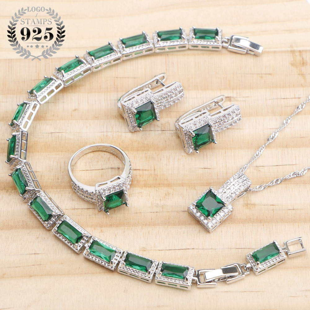 Green CZ 925 Sterling Silver Bridal Jewelry Sets Earrings For Women Wedding Jewelry Rings Bracelet Necklace Set Gifts Box
