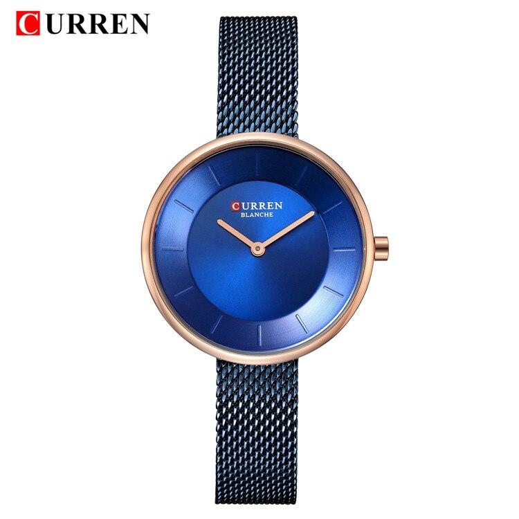 CURREN Модные роскошные женские часы, брендовые роскошные женские часы, синий стальной сетчатый ремешок, кварцевые женские часы Relogio Feminino 9030