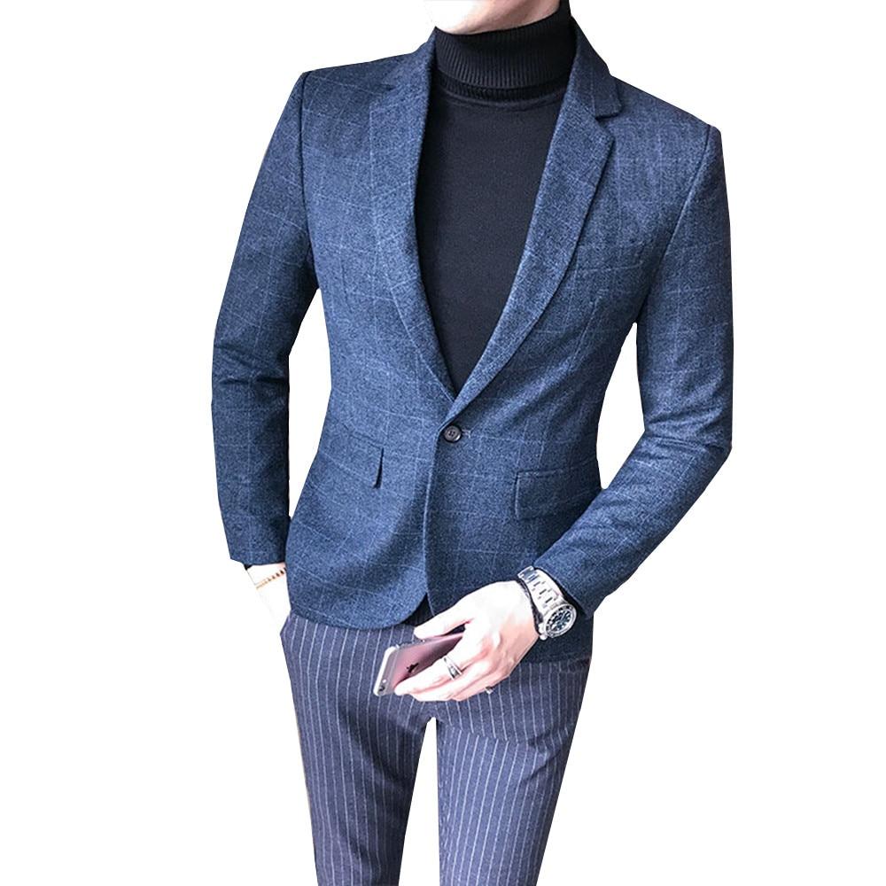 2019 Autumn Casual Men Blazer British Style Business Slim Fit Suit Coat Wedding Work Single Button Jackets Male Blazer M-5XL