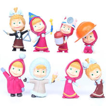 8pcs/set Russia MashaBear toy Creative bear doll gift for kids Cake decoration Childrens Day