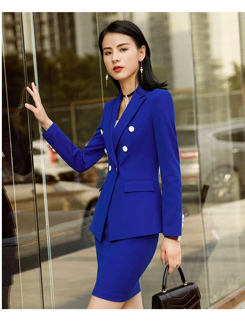 Blue Formal Elegant Uniform Styles Blazers Suits Two Piece With Tops and Skirt For Ladies Office Work Wear Jacket Blazer Sets
