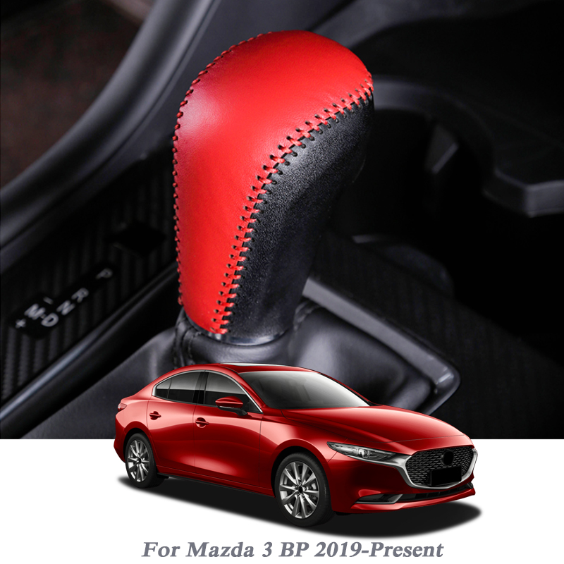 Car Handbrake Covers Sleeve Leather Cover Anti-slip Parking Hand Brake Grips Sleeve For Mazda 3 BP 2019-Present Auto Accessories