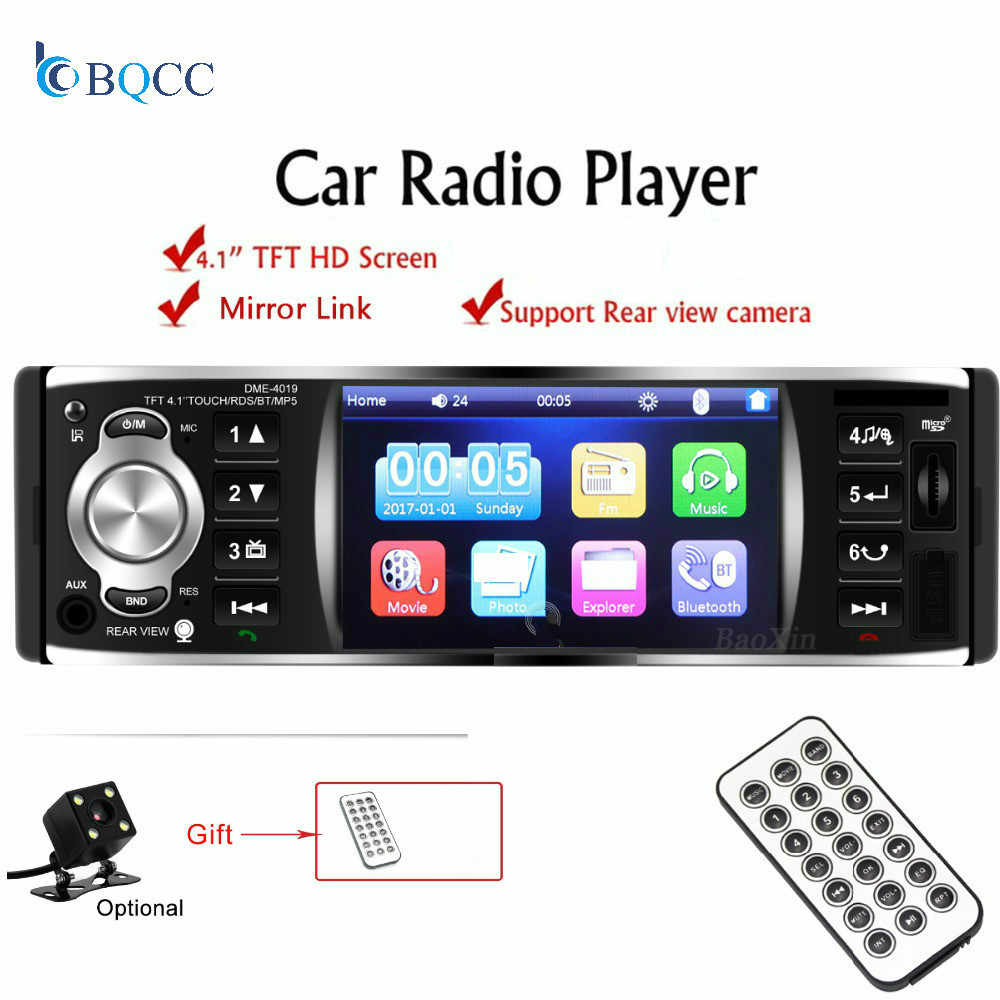 Car Radio 1 din 12V 4018B MP3 player Audio Stereo Support Mirror link  Bluetooth FM USB Rearview Camera Remote Control