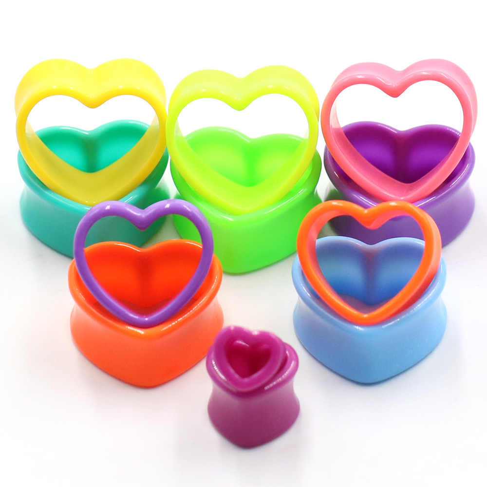 1pair Heart-shaped Ear Hole Dilator Expansion Device Stretch Hollow Ear Plugs Body Piercing Ear Defender Jewelry