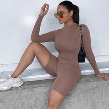 2020 jesień kobiet seksowny kombinezon Streetwear z długim rękawem Bodycon solidna zima Sport kombinezony kombinezon jednoczęściowy dla kobiet tanie tanio Mumaroho spandex Poliester Pełnej długości CN (pochodzenie) Kombinezony i Pajacyki WJ27051B Dzianiny WOMEN Stałe skinny