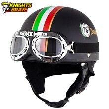 Retro kask motocyklowy Vintage skuter Casco Moto motocykl otwarta twarz pół Helme Casco klasyczny kask dla mężczyzn i kobiet