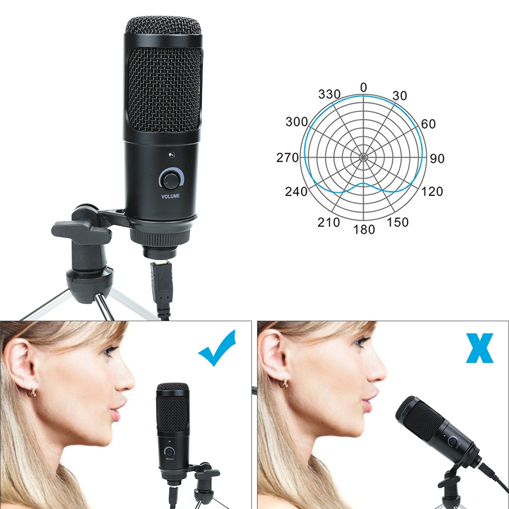 cheapest USB Condenser Microphone for Computer Karaoke Studio Microphone for bm 800 YouTube Gaming Recording mic with Stand Shock Mount