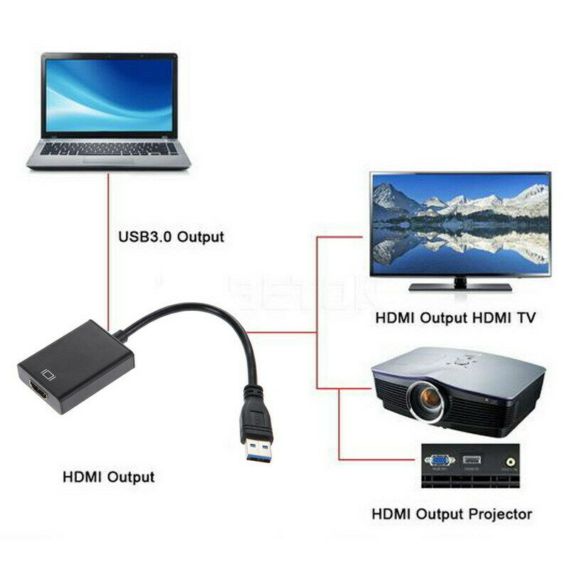 Parts Adapter Replacement Universal For PC Laptop HDTV LCD TV USB 3.0 To HDMI