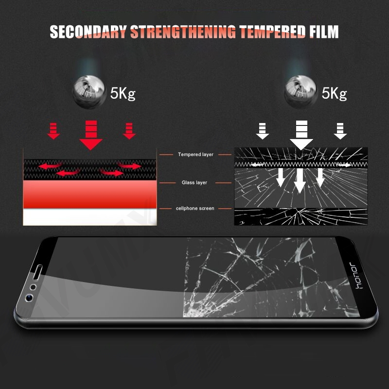 9H hardness Tempered Glass For Huawei honor 8 9 Lite V9 Play view 10 V10 Screen Protector Honor 7X 7A 7C 7S Protective Glas Film 6
