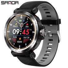 SANDA 스포츠 전체 터치 스크린 스마트 워치 IP68 방수 남자 시계 심장 박동 모니터 IOS 안 드 로이드 전화에 대 한 피트 니스 Smartwatch