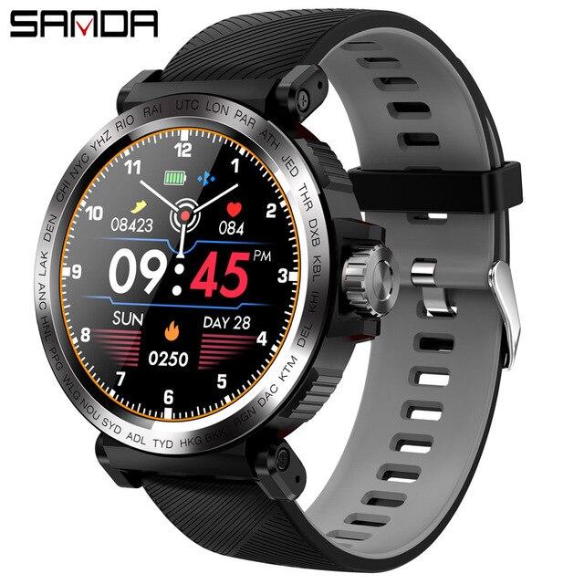 SANDA Sport Volle Touchscreen Smart Uhr IP68 Wasserdicht Männer Uhr Herz Rate Monitor Fitness Smartwatch für IOS Android Telefon