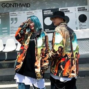 Image 3 - GONTHWID une allégorie de lancien et nouveau Testaments peinture impression coupe vent entraîneurs vestes Streetwear Hip Hop manteaux décontractés