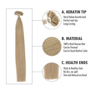 "Image 2 - Isheeny 12 ""14"" 18 ""22"" Remy Keratine U Tip Hair Extensions Silky Straight Pre Bonding Human haarverlenging Natuurlijke 50pcs"
