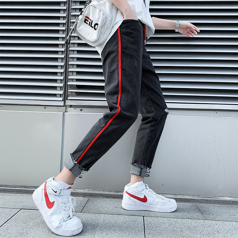 Spring Students Loose-Fit Jin Yao Capri Jeans Men's Skinny Harem Pants Leggings Closing Lace-up 9 Points Pants Fashion