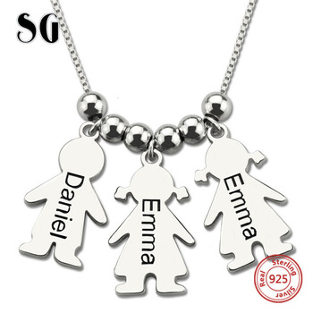 New 925 sterling silver chain custom engraved kids Name 3 children pendant Necklace For Women Mom's Jewelry Gifts xiaojing new arrival 925 sterling silver lovely christmas tree chain pendant necklace diy fashion jewelry making for women gifts