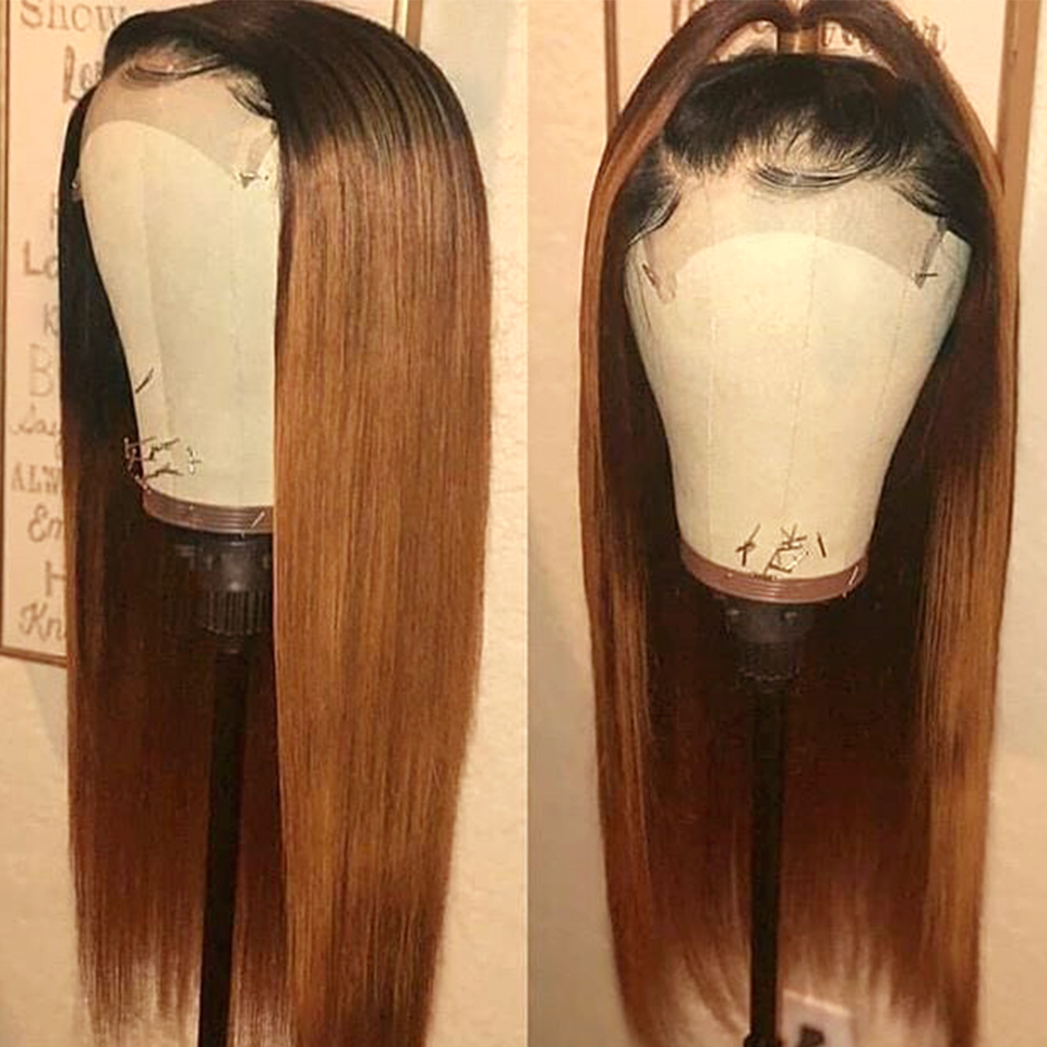 SEXAY 4x4 Lace Closure Wig #30 Brown Blonde Pre Colored Ombre Human Hair Wigs For Women Brazilian Remy Straight Lace Closure Wig